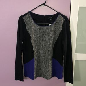 Long-Sleeved Color Block Ann Taylor Blouse PL